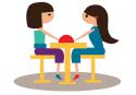 אייקון בנות יושבות לשולחן אימון אישי